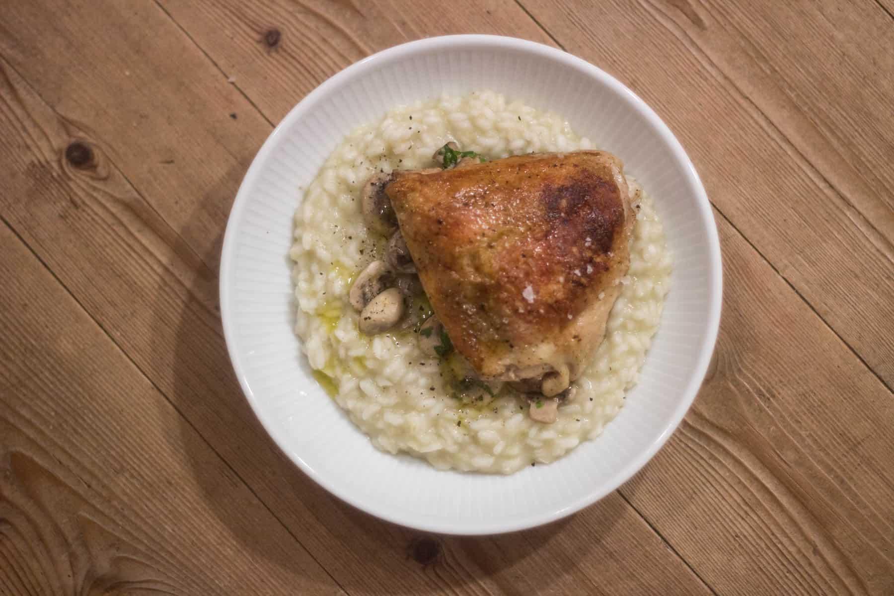 Risotto med svampe og kylling